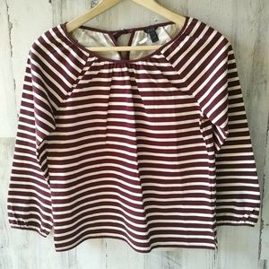 J.CREW  Striped Peasant Top Vintage Merlot Muslin